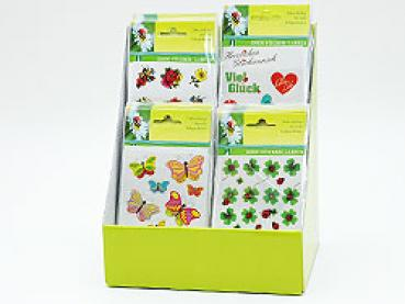 Sticker, 6 Motive sortiert, 12 x 1,8 cm, im Display .