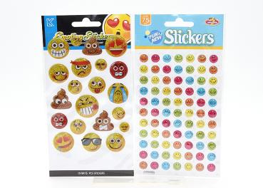 Smiley-Sticker, 4-fach sortiert